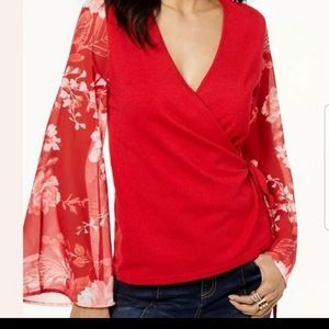 Red sweater wrap shirt NWT